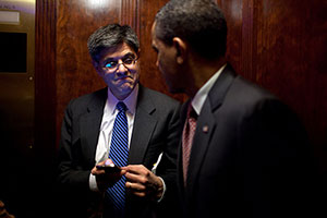 President Barack Obama talks with Chief of Staff Jack Lew during an elevator ride in the Eisenhower Executive Office Building.