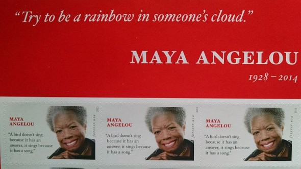 A picture of part of one of the new Maya Angelou stamp sheets that were issues Tuesday, April 7, 2015. (photo: cjzurcher)